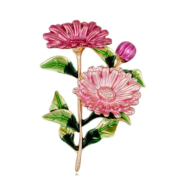 New Design Multicolor Daisy Flowers Enamel Brooch Pins for Women Lady Dresses Bouquet brooch Shirt pin Gold Silver Plated Fashion Jewelry
