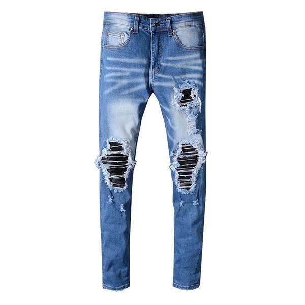 S19 New Arrive AM562 Jeans da motociclista skinny da uomo Desinger in jeans lavati Slim a una sola mucca
