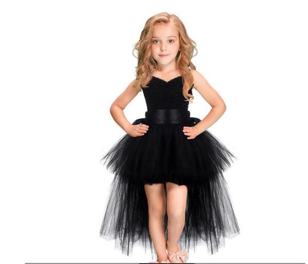 Compre Disfraces De Halloween Para Niñas Tutu Negro Vestido De Las Niñas Tren De Tul Vestidos De Fiesta De Cumpleaños Por La Noche Para Niños Vestidos