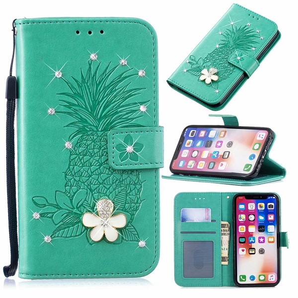 For Iphone XR XS MAX X 10 8 7 6 SE 5 Bling Diamond Leather Wallet Case Imprint Pineapple 3D Flower Magnetic Flip Cover ID Skin Luxury Strap