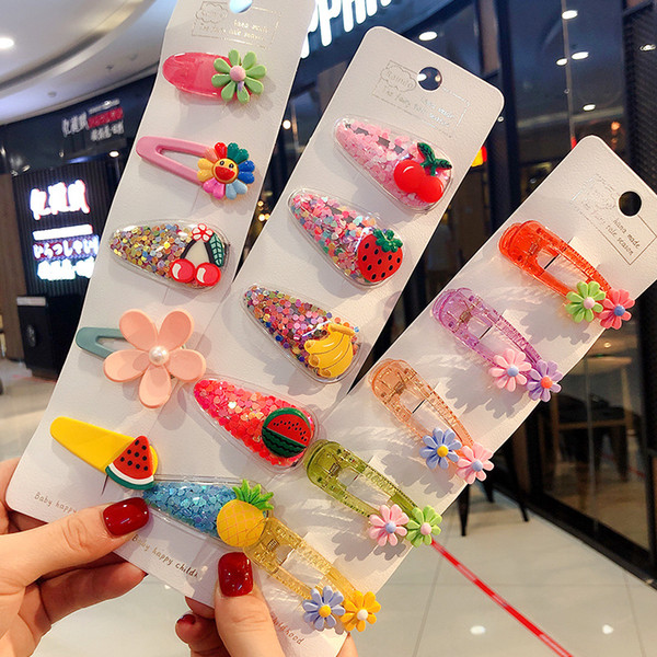 New color quicksand transparent children's fruit clip PVC side clip baby side clip jewelry hair accessories