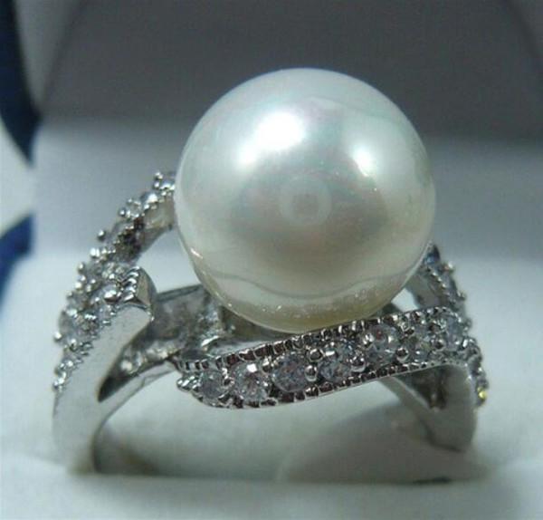 Jewelryr Perle Anneau Noblest bague 12mm nacre blanche 18KGP (# 7.8.9) Livraison gratuite