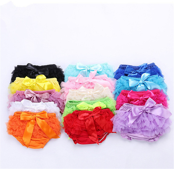 Lovely Baby Ruffles Chiffon Bloomer Tutu Infant Toddler Cotton Silk Bow Skirt Shorts Kids Layers Skirt Diaper Cover Underwear PP Shorts B11