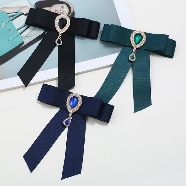 Wholesale- Pin Brooches Promotion Ribbon Trendy Unisex Diamond Jewelry Broche Bow Brooch Shirt Collar Flower Tie