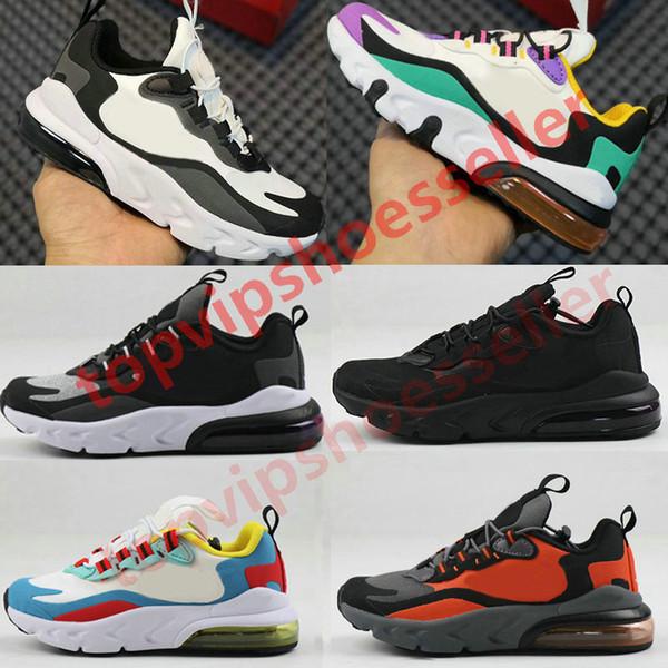top popular 2020 New 270 React Bauhaus TD Kids Shoes Boy Girls Running Shoes Black White Hyper Bright Violet Toddler Children Sneakers 24-35 2020