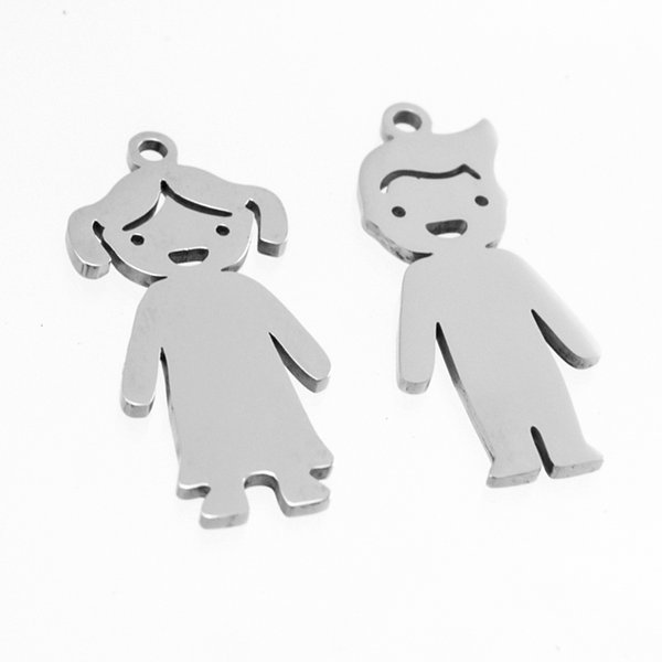 Family Cute boy girl charms lovely son daughter pendant Stainless steel personalized blank charm mirror polish pendant 50pcs