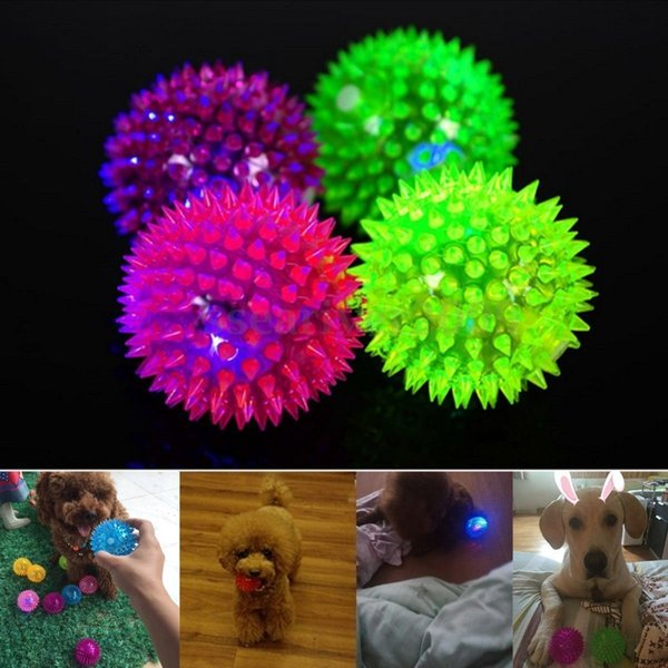 5.5cm Soft Rubber Flash Ball LED Toys Hedgehog Bouncing Ball Flash Barbed Ball Led Flash Pet Toys Christmas Birthday Festival Gift
