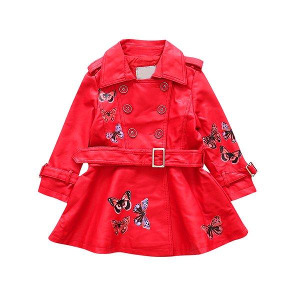 Дети двубортный искусственной кожи пальто детей мотоциклетная куртка девушки повседневная школа длинное пальто для 4-12 т AA11812