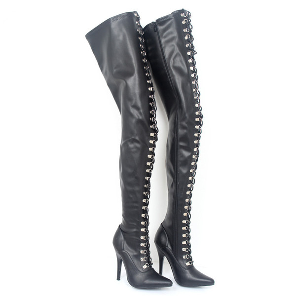 Fashion 12Cm Ultra Hegh Heels Sexy Fetish Lace Up Potinted Toe Over Knee Thigh High Boots With Zip Stiletto Flex Matt PU