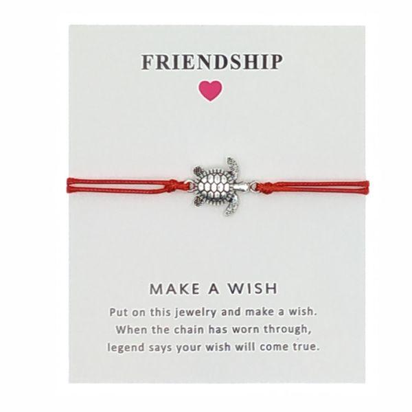 Sirodi Jewelry Silver Tortoise Charm Bracelet Adjustable Infinity Friendship Bracelets For Women Men With Card Wholesale