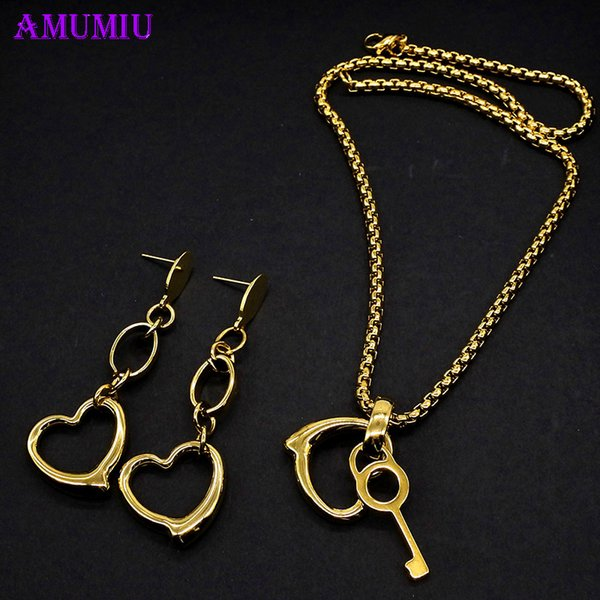 AMUMIU Jewelry Sets Lock and Key For Woman Pendant Necklace sets Women Choker Earrings Rose Gold Color Opal Bride Jewelry JS089
