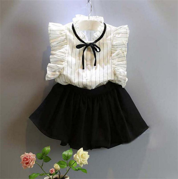 baby girls summer outfits striped shirt fly sleeve + short skirts 2pcs/set children clothing set kids boutiques suit sweet outwear