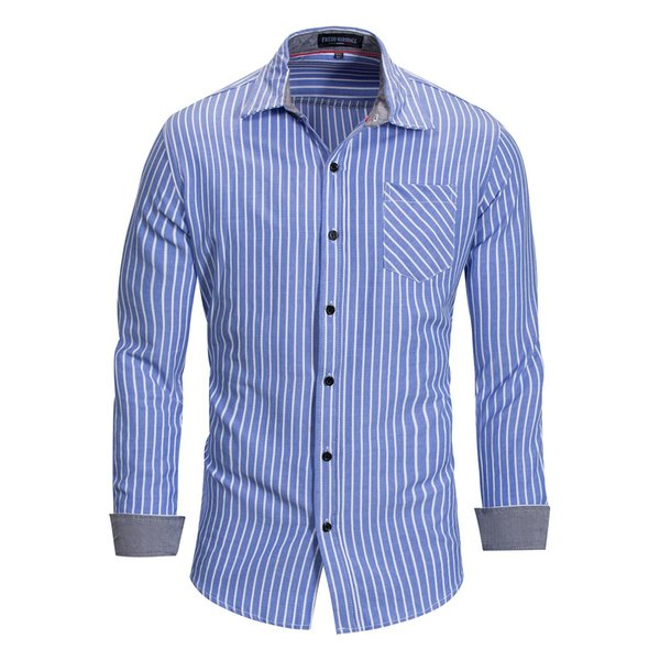 Nouvelle grande taille coton à manches longues Chemise à rayures hommes