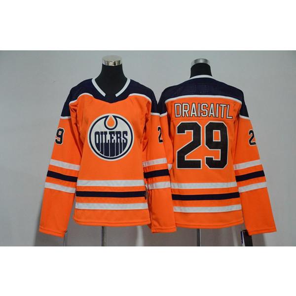 Mens Edmonton Oilers Leon Draisaitl Deplasmandaki Maçlar Turuncu Mavi Beyaz Hokey Forması Tüm Oyuncular