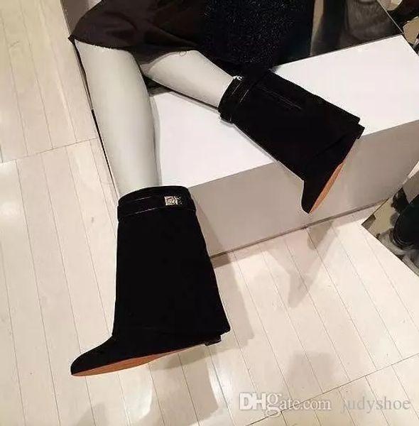 2018 Shark Lock Folder Mid Calf Women Wedge Boots height increasing High heels Shoes High Quality Martin Layer Boots women