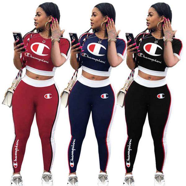 Chándal de la marca Champions Women con paneles de dos piezas con estampado de letras crop top bodycon pants diseñador otoño invierno ropa running suit 1096