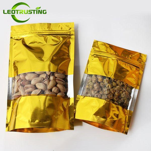 Leotrusting 100pcs/lot Stand up Glossy Gold Window Ziplock Bag Resealable Plastic Heat Sealing Bag Sugar Kitechen Supplies Storage Bag