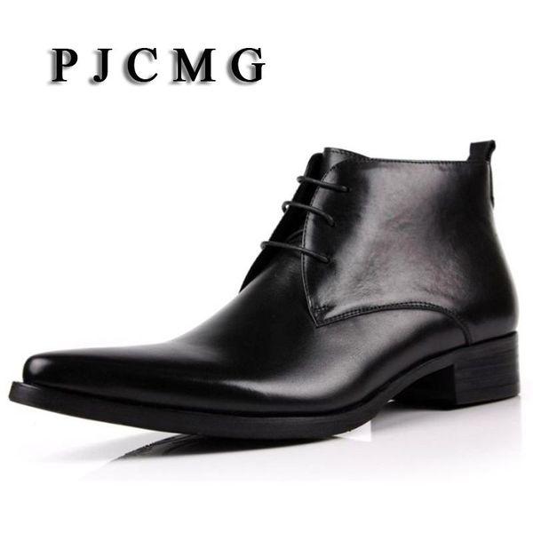 Compre PJCMG Fahsion Classic Vintage Cowboy Botines Punta Estrecha Casual Cuero Genuino Marrón Blackd Diseñador Botas De Vestir Para Hombre A