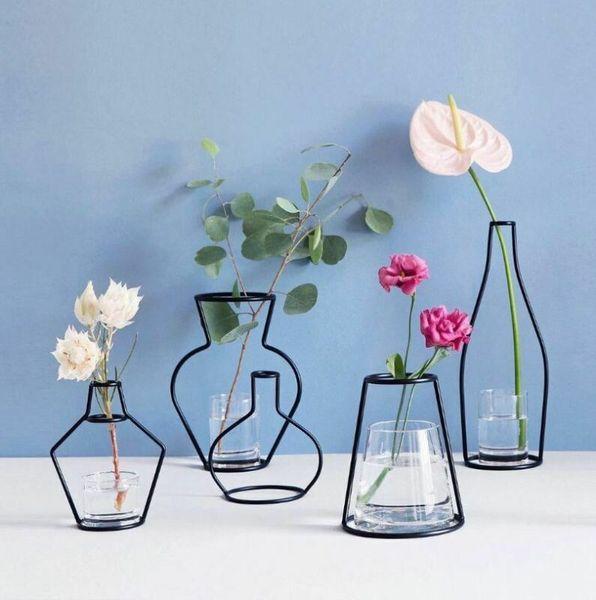 best selling Art Iron Creative Vase Planter Rack Home Decoration Accessories Modern Flower Pots Shelf Soilless Organizer Dried Flower Vases