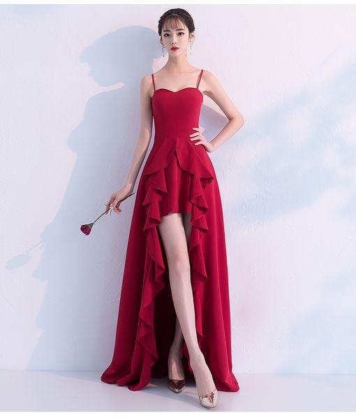 3 Sizes Red Summer Brides Toast Sexy Wedding Dress Slim Long Women Evening Dress Prom Gowns Formal Wear A0097