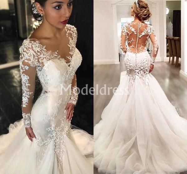 Arabic Lace Mermaid Wedding Dresses Deep V-Neck Illusion Train Sheath Chic Long Sleeves Bridal Gown Gorgeous Charming robe de mariée Cheap