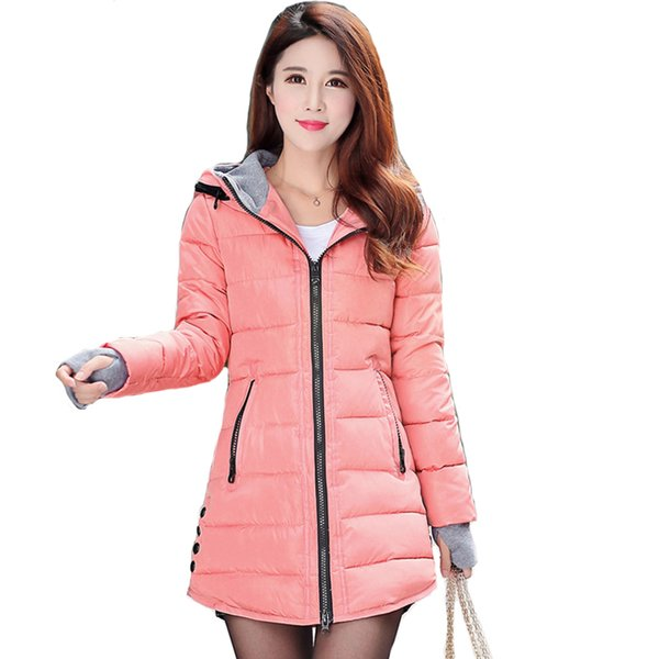 2019 women winter hooded warm coat plus size candy color cotton padded jacket female long parka womens wadded jaqueta feminina T190610