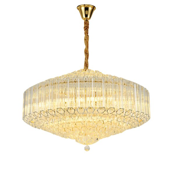 New designer contemporary round crystal chandelier light gold luxury pendant chandeliers lighting living room bedroom led hanging lamps