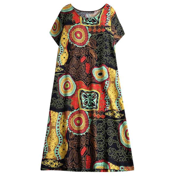 Vestido de manga corta Accappatoio de las mujeres Estilo étnico Algodón Estampado floral Vestido Retro Estampado étnico abiti da donna festaioli # 15