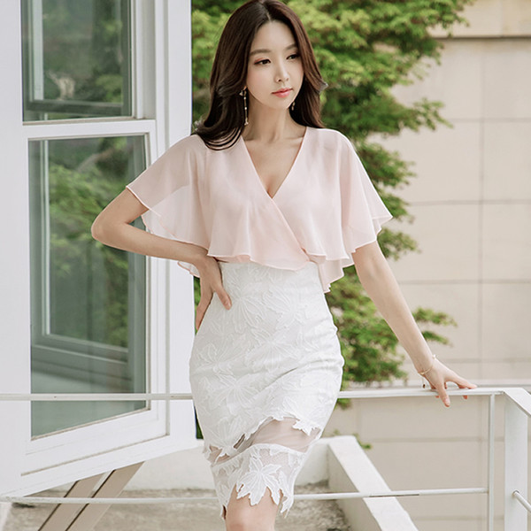 2019 Summer V-Neck Batwing Sleeve Chiffon Blouses Lace Bodycon Skirt Women 2 Piece Clothing Sets Pencil Party Dresses