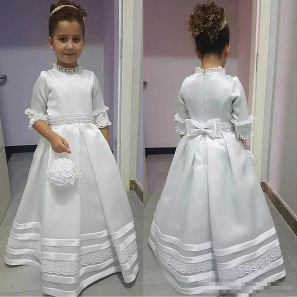 Modest Bianco Avorio Alte manicotto mezzo fiore ragazza abiti 2019 principessa una linea Appliques Prima Comunione veste per i bambini del bambino formale