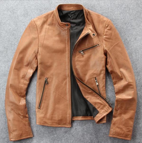 Nouvelle veste en cuir des hommes d'automne veste en costume de moto en peau de mouton pakistanaise des hommes