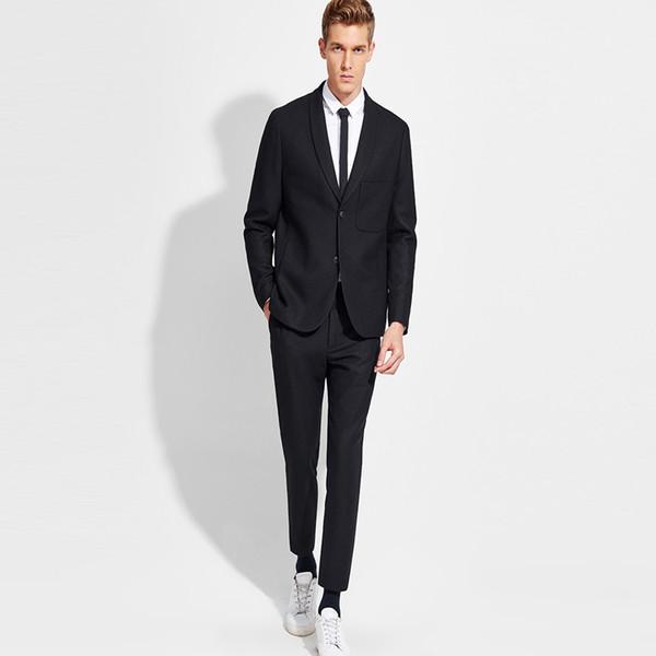 Classic Black Business Style Suit Slim Fit for Men 2 Pcs (Jacket+Pants) Groom Tuxedos Wedding Suits Blazer Men 2018 Hot Sale