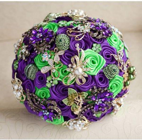 Custom European Rose Jewelry Wedding Bouquet Silk Purple Green Rose with Bridal Bouquet
