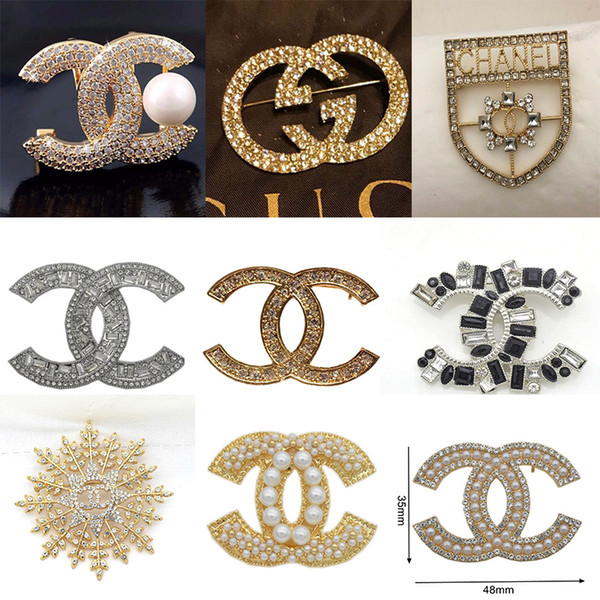 Top Fashion Brand Brooches Exquisite Pearl Luxury Brooch Simple Letter Brooch Pins Elegant Women Costume Jewelry Best Quality