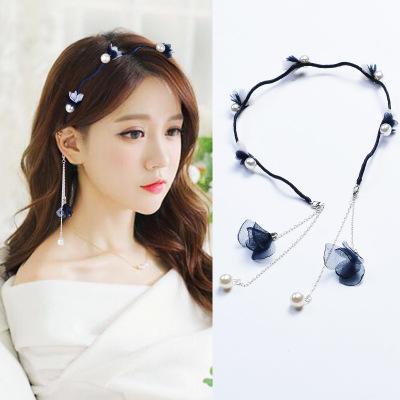 Small Fresh Fashion Flower Hairband Pearl Hair Head Hoop Bands Accessories cloth Headband For Women Girl Hair Scrunchy Headdress