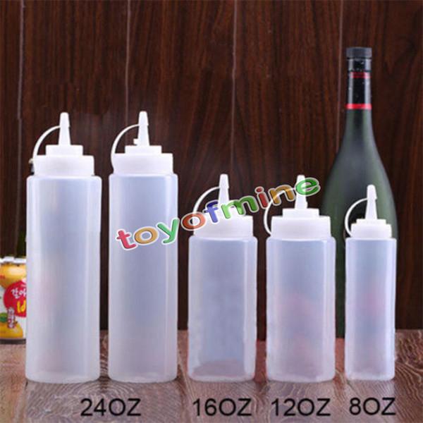 Wholesale- 8,12,16,24oz New Kitchen Plastic Squeeze Bottle Condiment Dispenser for Sauce Vinegar Oil Ketchup Cruet