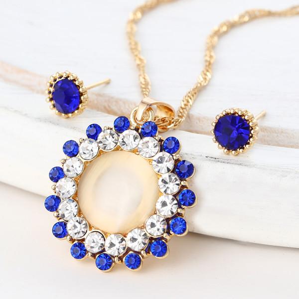 Vintage Water Drop Pendant Necklaces Earrings Set Gold Color
