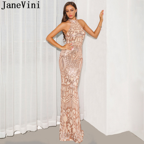 Платье JaneVini из розового золота с длинными выпускными платьями Bling блестками Холтер Элегантное платье русалка красный ковер Сексуальные вечерние платья без спинки 2019