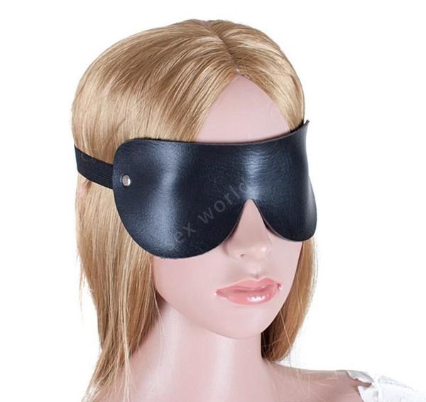 Cuero de PU negro, cubierto con ojos sexy, máscara, burlas, parche acolchado con parche para los ojos, juego para adultos