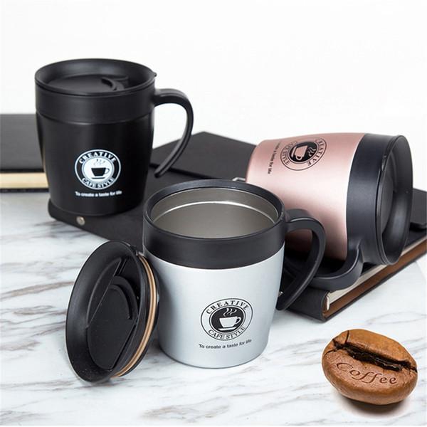 Double Wall tazza di caffè in acciaio inossidabile Thermos Tumbler Coppe della boccetta di vuoto auto termo tazza bottiglia d'acqua con cucchiaio Thermocup