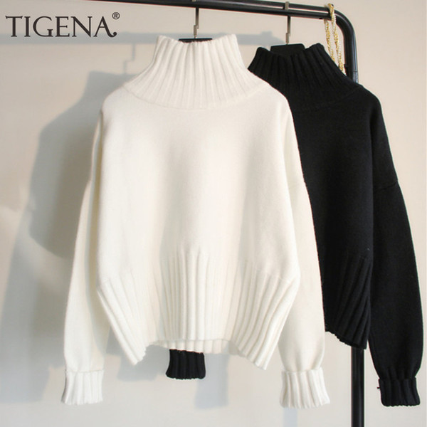 TIGENA Fashion Design Turtleneck Sweater Women Jumper 2019 Winter Loose Long Sleeve Knitted Pullover Sweater Female Black White LY191217