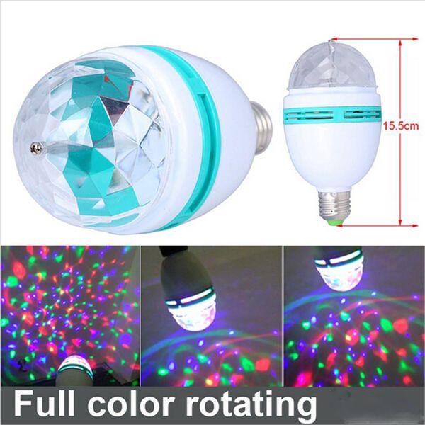 3 Вт E27 RGB Лампы освещения Полноцветный светодиодный кристалл свет этапа Авто вращающийся эффект сцены DJ лампа мини-свет этапа