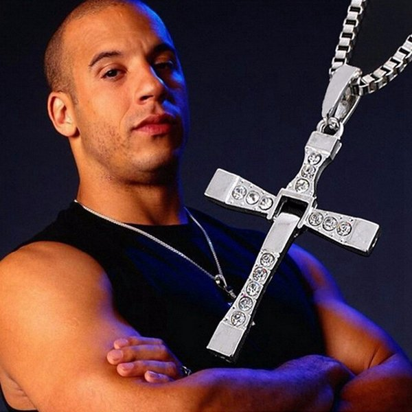 Crystal Jesus Cross Pendant Necklace Movie The Fast and the Furious Celebrity Dominic Toretto Vin Silver Gold Necklaces Men Gift Jewelry