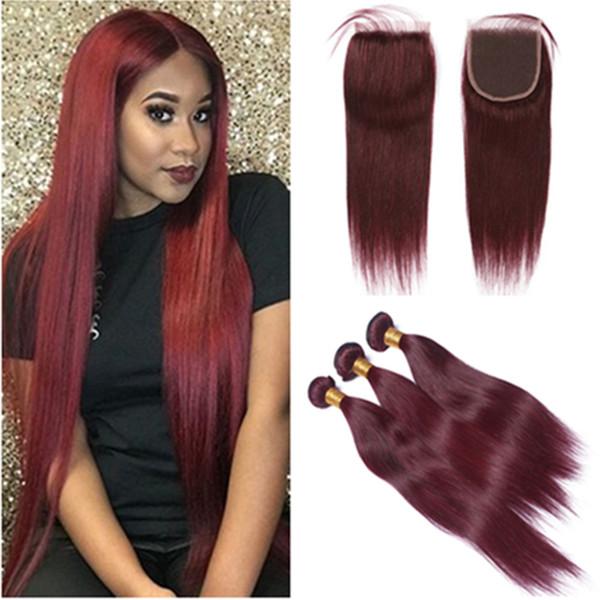 # 99J bordeaux capelli brasiliani con chiusura vino rosso dritto capelli umani tesse 3 pani con 4x4 chiusura pizzo pezzo 4 pezzi lotto