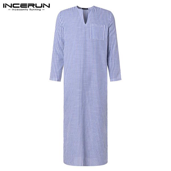 2019 Yeni Bornoz Unisex Erkekler Gömlek Elbise Uzun Kollu V Boyun Çizgili Kurta Vintage Gevşek Hint Elbise İslam Arap Kaftan giysi
