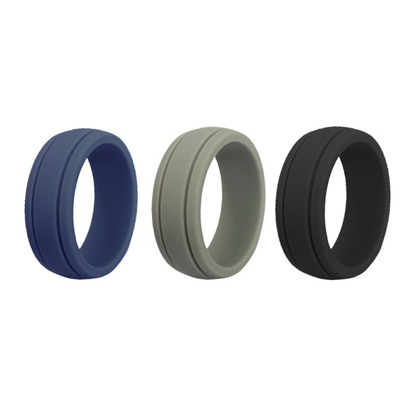 Size8-12 Hypoallergenic Flexible Rubber Finger Rings 8mm Food Grade FDA Silicone Ring For Women Men Wedding Rings Bands