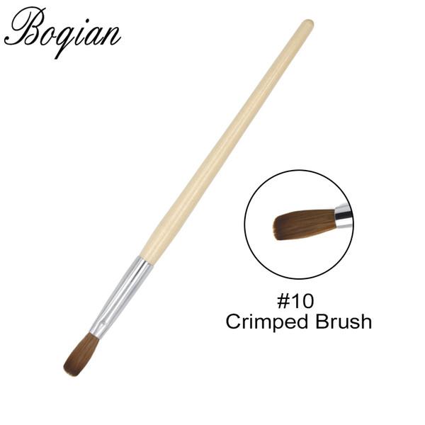 оптовая продажа 10PCS обжимная кисть Nail Art Brush # 10 # 12 Деревянная ручка-ручка 100% Kolinsky Nail Art Инструментальная щетка для маникюра