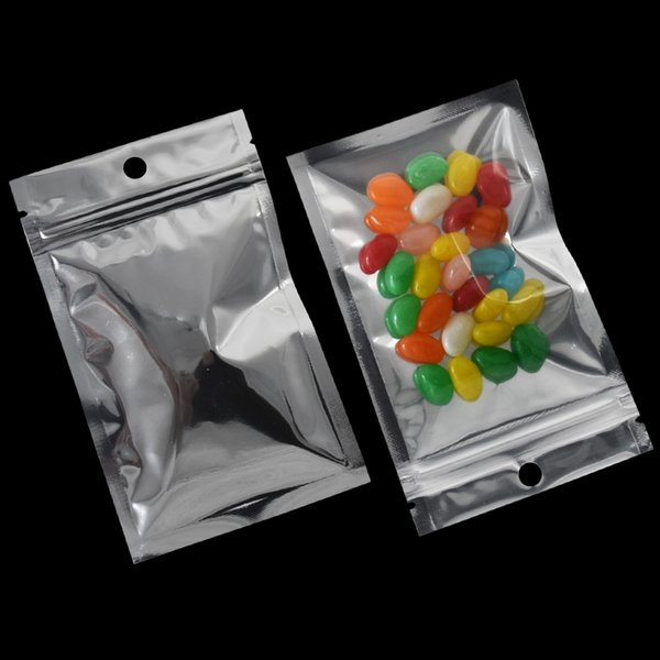 10x17.5 cm 200 Peças Top Zip Bloqueio Saco De Embalagem Da Folha De Alumínio Resealable Saco De Plástico Transparente para Sacos De Armazenamento De Cereal Drysaltery Com Furo Pendurar