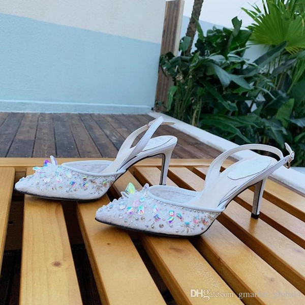 Zapatos de cristal para mujer KRISTELLA LACE AB STRASS SLING 75 Zapatos de diseño de lujo Zapatos de boda de tacón alto hechos a mano Tamaño 35-41