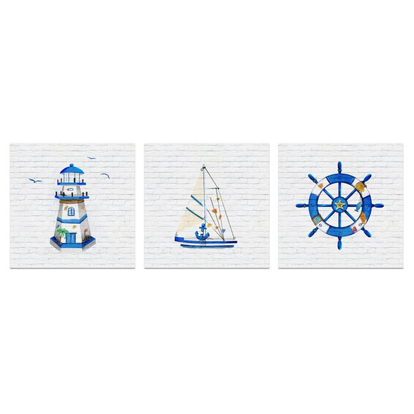 Unframed Wall Art for Bathroom Blue Lighthouse Sailboat Captain's Wheel Anchor Painting Picture Navigation Canvas Prints